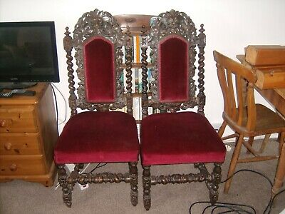 Beautiful Pair of Antique Carved Gothic Style Chairs needing repair