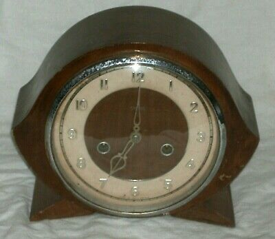Antique Smiths 2 Hole Chiming Mantle Clock For Spares, Repair Or Display