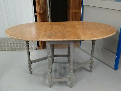 Antique Dining Table in Waxed Oak, Fold Down, 1920's, Farrow and Ball legs