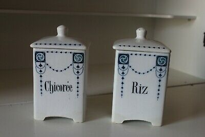 2 Anciens Pots A Epices - Vintage French Canister Set