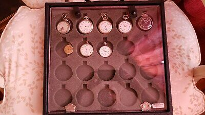 Antique Very Rare Lot 8 Pocket Watches Both Running and 20 Pocket Storage Box.