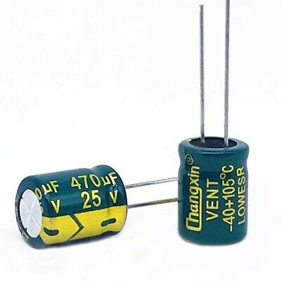 20 x 25V 470uF Radial Electrolytic Capacitors For PCB/LCD Mount 105°C 10x13mm
