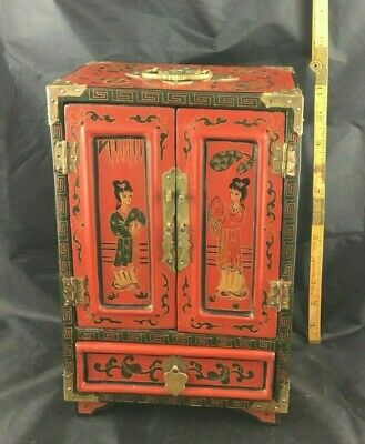 """Large Red Chinese Painted Lacquer 12"""" H x 8"""" W Jewelry Box/Chest 5 Drawers"""