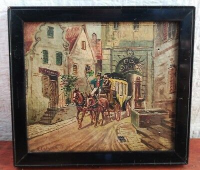 Antique 19th century Victorian OIL PAINTING signed J.COLMAN MINIATURE 1 of PAIR