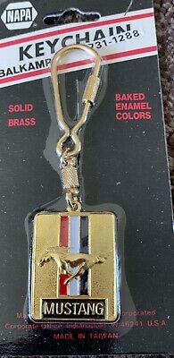 Vtg Retro Napa 1970's 1980's  Ford Mustang Solid Brass Keychain NOS Old Stock