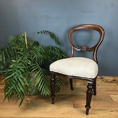 Antique Victorian Ballon Back Dining Chair Mahogany Vintage Seat Seating