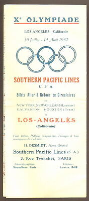 Programme. Jeux Olympiques Los Angeles. 1932. Southern Pacific Lines. Circuits