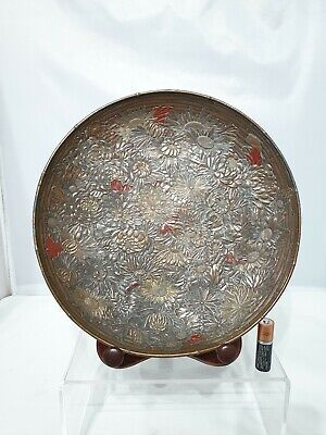 "Superb Japanese Antique 19th/20thC Antimony Bronze on Pewter Bamboo Dish 9"" AF"