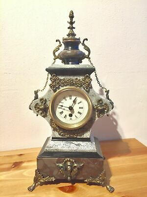 Rare Antique French Vintage Marble Granite And Slate Clock With Bronze Ornate
