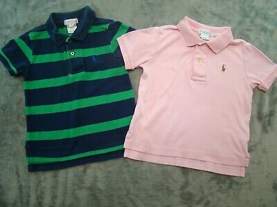 Lot of 2 Ralph Lauren Polo Boys Short Sleeve Shirts Pink Pima Size 24 Months