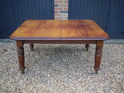 Antique Victorian Wind Out Extendable Dining Table Mahogany 1 leaf Turned Legs