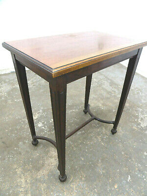 antique,victorian,mahogany,side table,tapered,square legs,round feet,end table