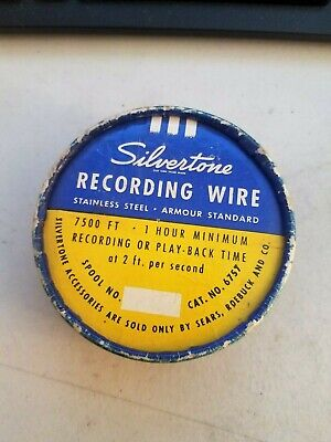 Vintage Unused Silvertone Recording Wire 7500 Ft. 1 Hour In Cool Tin!