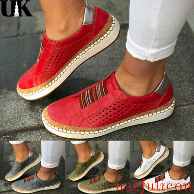 Women Ladies Colorful Casual Flat Loafers Hollow Out Slip On Sneakers Shoes Size