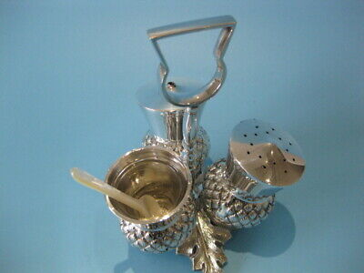 Beautiful Antique Silver Plated Victorian 4 Piece Thistle Cruet Set on Stand