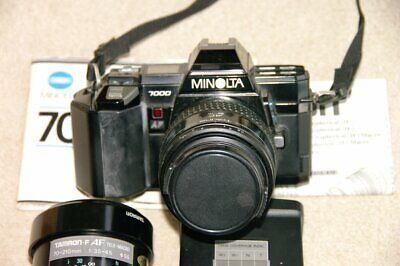 Minolta 7000 AF SLR 35mm Camera with two lenses and flash