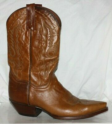 Vintage DAN POST TAN ANTIQUE BROWN Leather Cowboy WESTERN Boot USA 8.5 M UK 6.5
