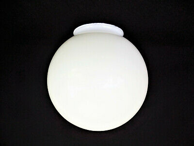 "3-1/4"" Fitter 6"" Round White Glass Globe Ceiling Fixture Fan Post Shade Vintage"