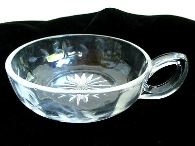Vintage Nappy Dish Clear Etched Glass One Loop Handle Condiment Nut Candy