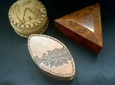 SMALL VINTAGE TREEN & LEATHER TRINKET BOX's WITH LIDs x 3