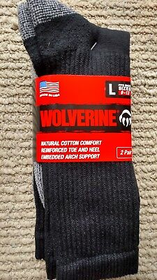 6 Pair Wolverine Men's Black  10-13 Large Cushion Steel Toe Boot Sock  Usa Made