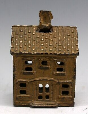 Antique Small Cast Iron Two Piece Still Coin Bank 2 Story House Building Usa