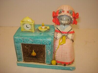 Retro Paper Mache Granny Mouse in Rocking Chair & Fire Place Bank Japan