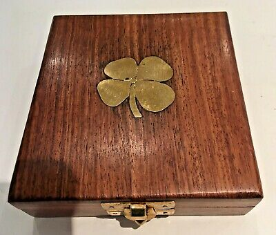 Vintage Wooden Box with nice patina and inlaid Brass Four Leaf Clover