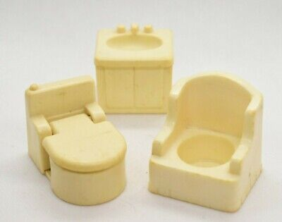 Vintage Fisher Price Little People White - Toilet, Sink & Chair  Lot - Bathroom