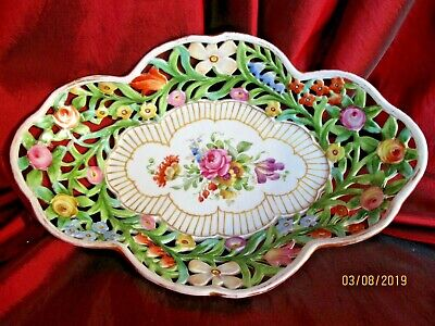 Schierholz Hand Painted Pierced Dish Bowl Tray Centrepiece Gold Pink Rose Floral