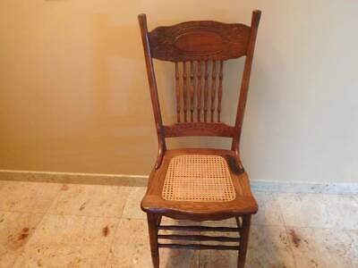 Antique Larkin Carved Pressed Oak High Spindle Back Side Chair Great Condition