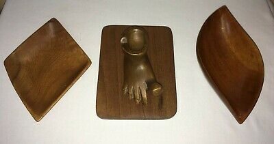 vintage wooden dish lot wooden carved foot ashtray bowls candy dishes
