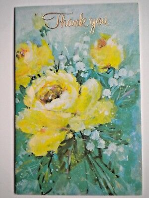 """Carlton Cards ~ VINTAGE FRENCH-FOLD YELLOW ROSES """"THANK YOU"""" GREETING CARD"""