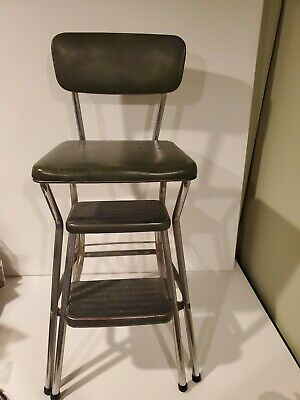COSCO OLIVE GREEN Step Stool Chair Kitchen Industrial Age ...