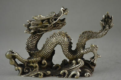 Chinese old copper plating silver  hand-carved dragon statue a01