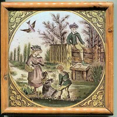 Framed Antique Victorian English Tile Children Print & Tint Mended! Ready Hang!