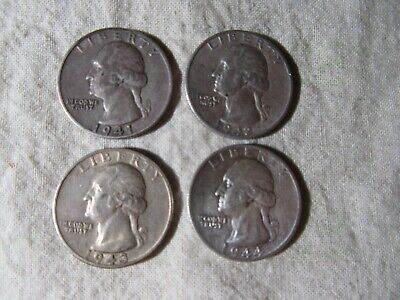 Usa  Quarter Dollars  1941 - 1944    4 Coins