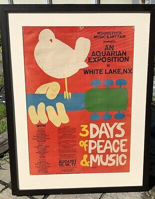 Authentic Woodstock Poster. 1969 Original Piece. Professionally Framed.