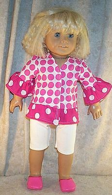 Doll Clothes Girl Made 2 Fit American Girl 18 inch Leggings Set Pink White Dots