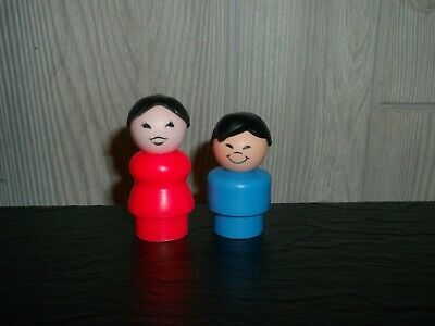 Vtg Fisher-Price Little People Oriental Asian Family Mother & Son Rare Lot Of 2