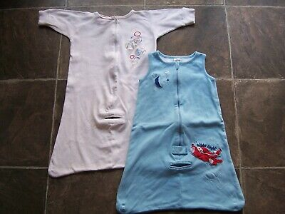 Baby Boy's Cotton Knit Sleeping Bag x 2 Incl Sprout Size 00 VGUC