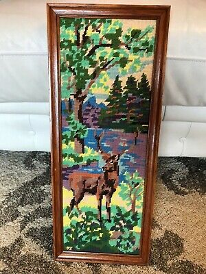 Vintage framed tapestry art needlepoint deer stag mountain forest 52 x 21cm