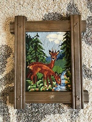 Vintage framed art tapestry needlepoint deer drinking stream mountains chalet