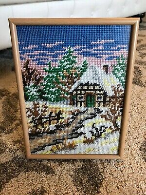 Framed with glass snow winter tapestry European cottage house forest alps