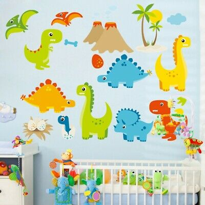 Q Version Of Animal Park Dinosaur Wall Stickers For Kids Removable Decal Mural