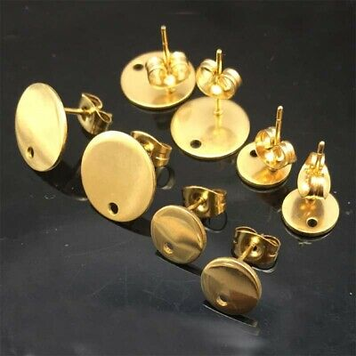 Gold Round stainless steel earrings connector findings diy stud earring posts