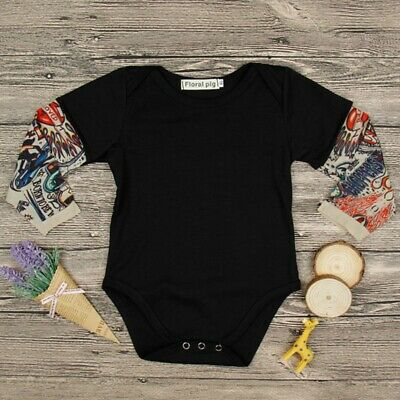 Newborn Fake Tattoo Sleeve Baby Boy Romper Cotton Clothes Infant Jumpsuit Tops