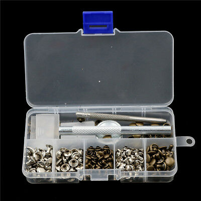 120pcs/setLeatherCraft Repair Double Cap Rivets Tubular Metal Stud Fixing ToolJ!