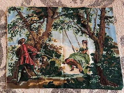 Vintage French tapestry needlepoint romance couple scene lady on swing 73 x 54.5