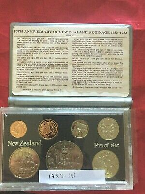 NEW ZEALAND 1983 PROOF COIN SET INCLUDES SILVER $1 in CASE & FOLDER